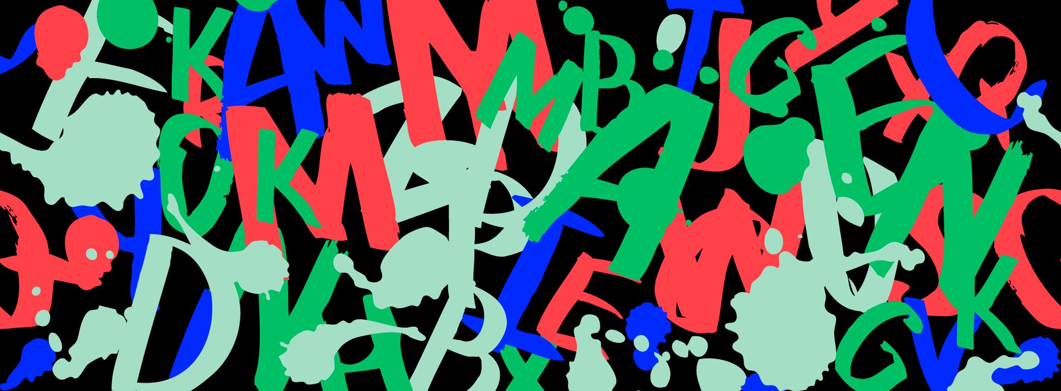 Mustalla alustalla värikkäitä kirjaimia sikin sokin.